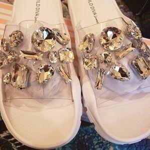White Bling Sandals